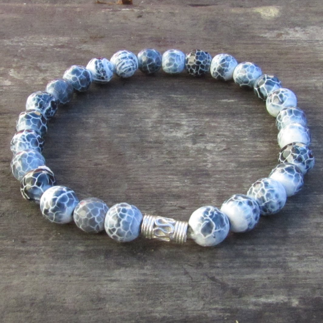 Blue White Agate Cross Bracelet Men